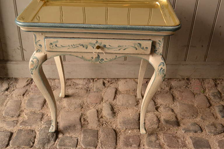 18th Century and Earlier 18th Century Rococo Side Table with Brass Tray For Sale
