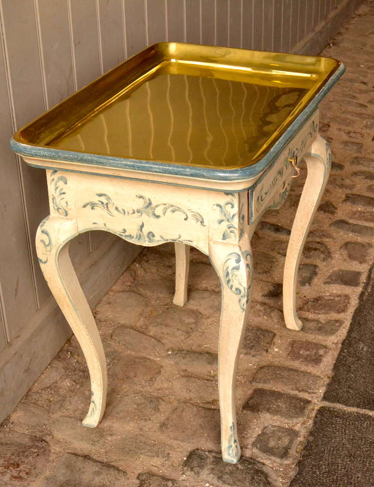 18th Century Rococo Side Table with Brass Tray For Sale 1