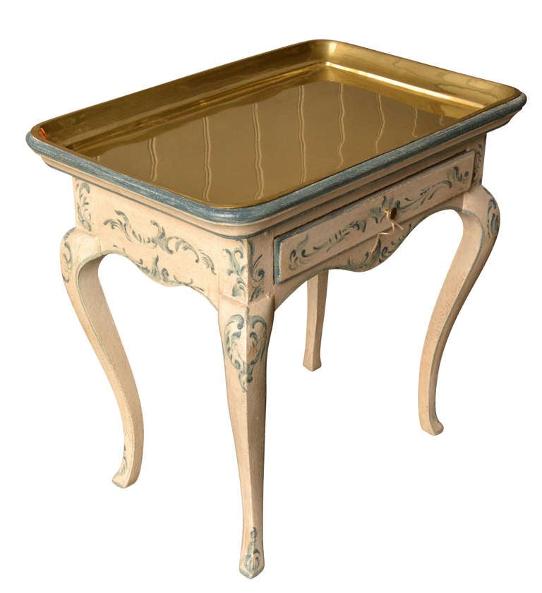 18th Century Rococo Side Table with Brass Tray In Good Condition For Sale In Haddonfield, NJ