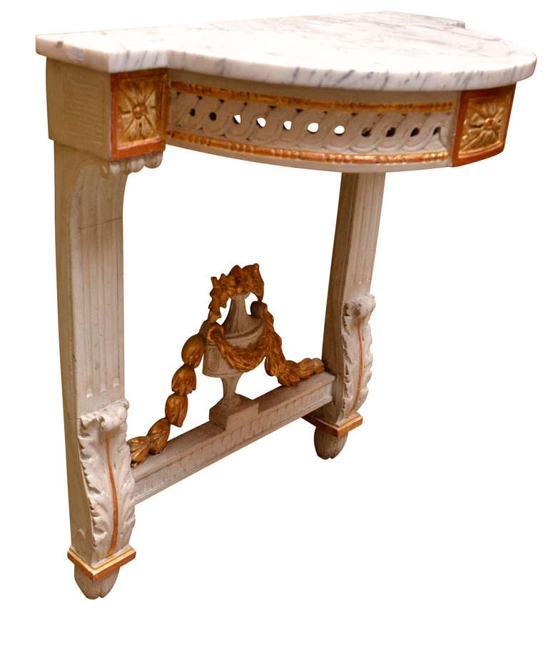 Swedish 19th Century Danish Louis Seize Demilune Marble Top Wall Console For Sale