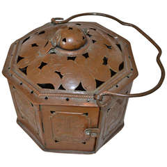 18th Century Copper Footwarmer Lantern