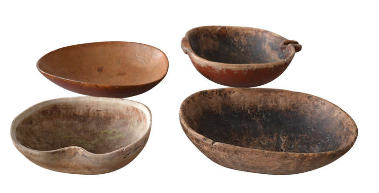 Very nice hand-carved 18th century dairy bowls made out of the rootwood. Some are later painted and som of them stamped with years and name.