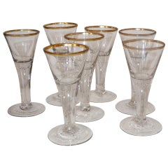 Set of Seven 18th Century Baroque Wine Glasses
