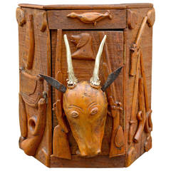 Small Hanging Corner Cabinet with Hunting Themes