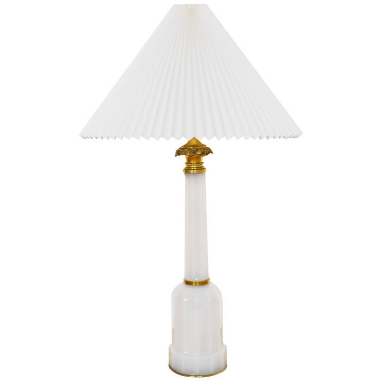19th Century Heiberg Opaline Lamp