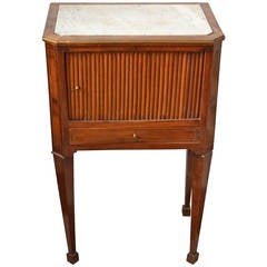 19th Century Bedside Table with Marble Top and Push Cabinet Door