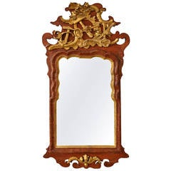 Danish, 18th Century Ealdorman Rococo Mirror