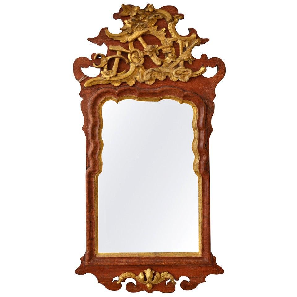 Danish 18th Century Gilded Freemason Guild Rococo Mirror