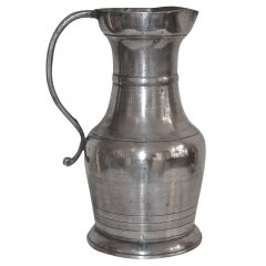 18th Century Large Baroque Pewter Pitcher