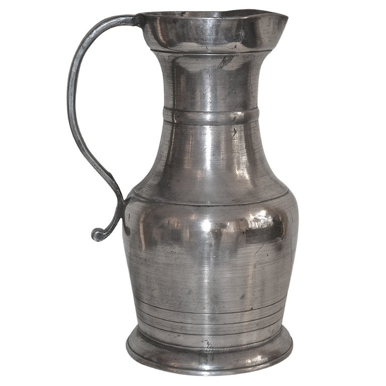 18th Century Large Baroque Pewter Pitcher For Sale