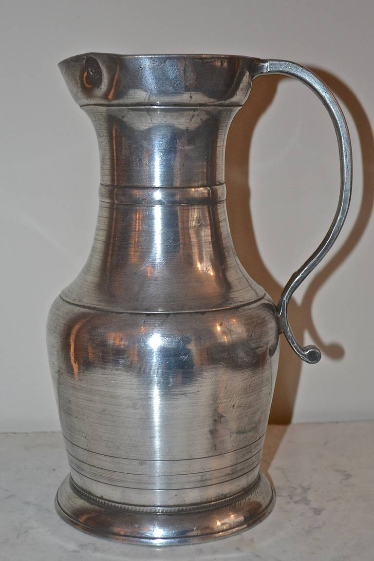18th Century Large Baroque Pewter Pitcher For Sale 5