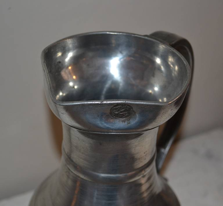18th Century Large Baroque Pewter Pitcher For Sale 6