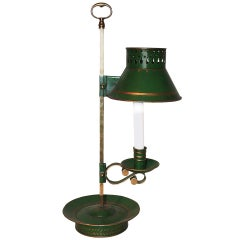 French 19th Century Green Painted Metal And Brass Table Lamp For Candlestick