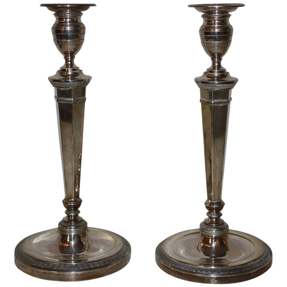 French Pair of 19th Century Silver Candlesticks