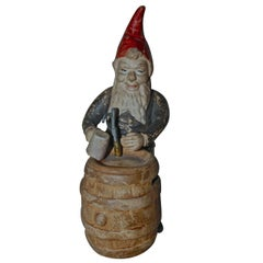 Christmas Elf with Beer Barrel Money Bank