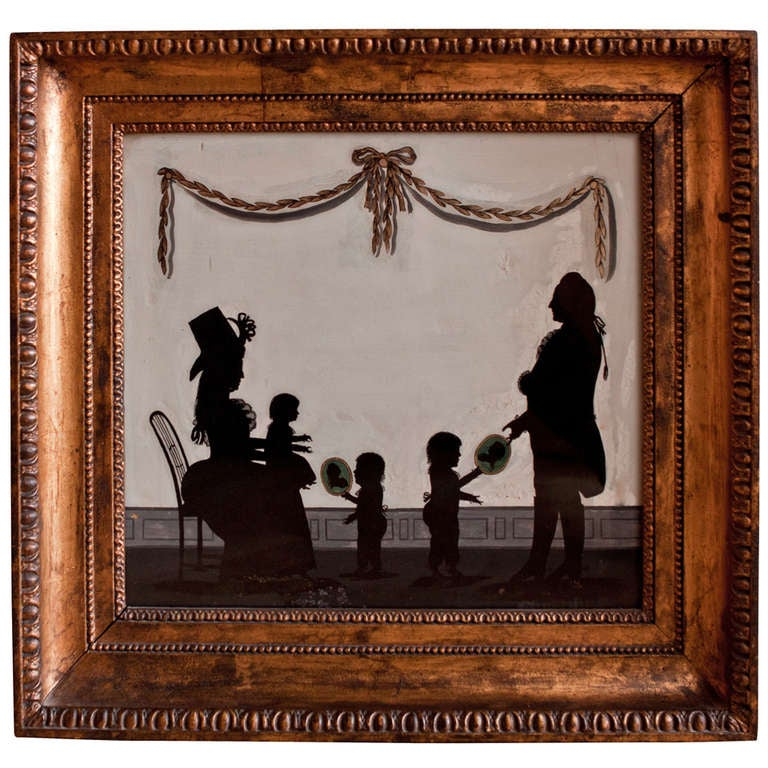 18th Century Reverse Mirror Silhouette Painting At 1stdibs