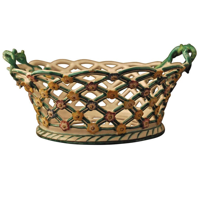 Faience Wicker Bowl, Kiel 18th Century