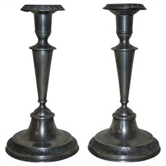 Early 19th Century Pair of Pewter Candleholders