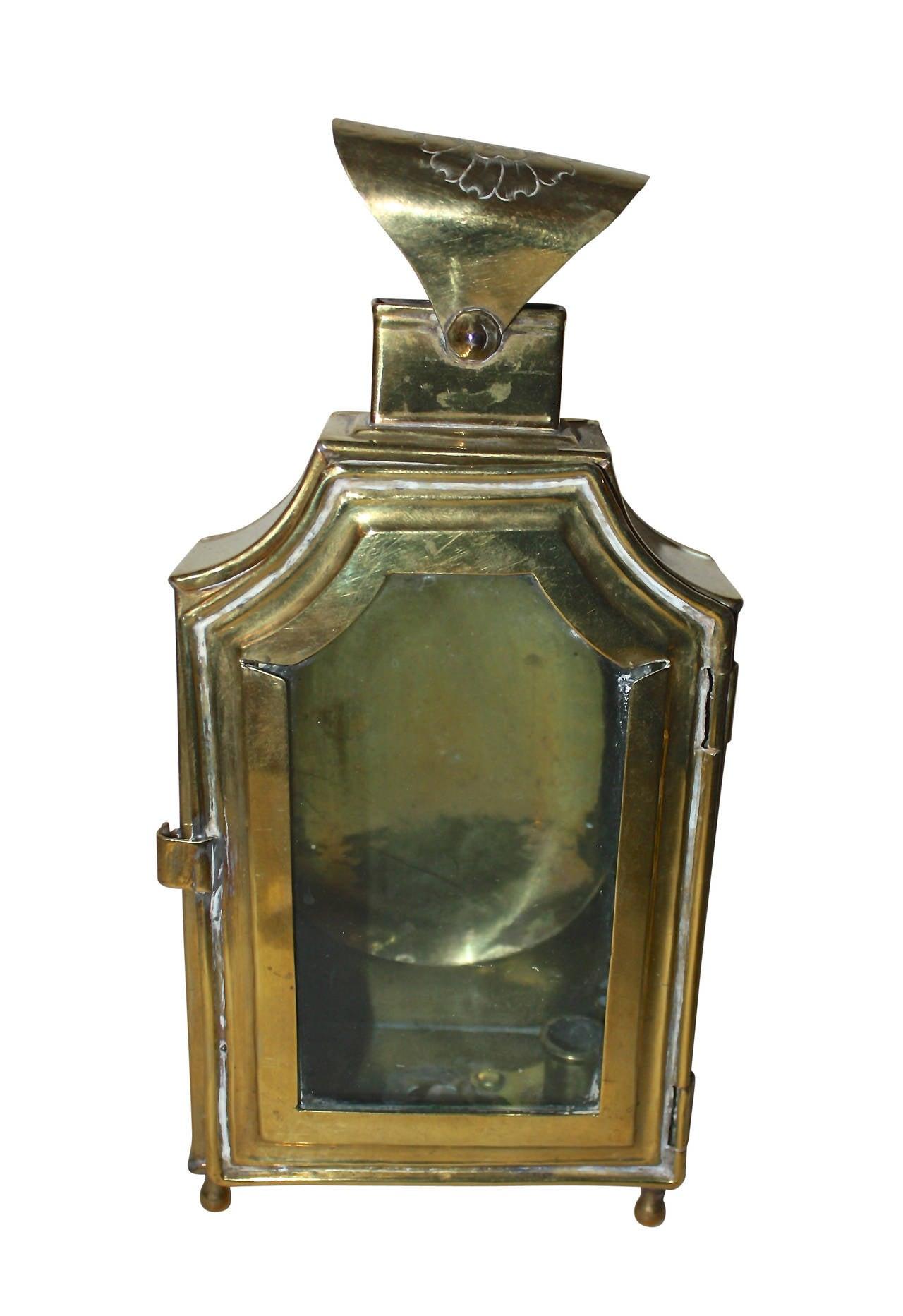 European 18th Century Rococo Brass Lantern For Sale