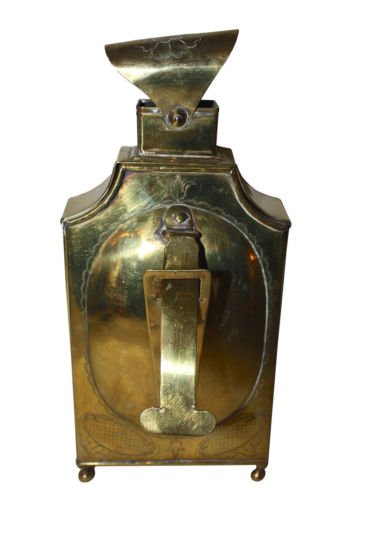 18th Century and Earlier 18th Century Rococo Brass Lantern For Sale