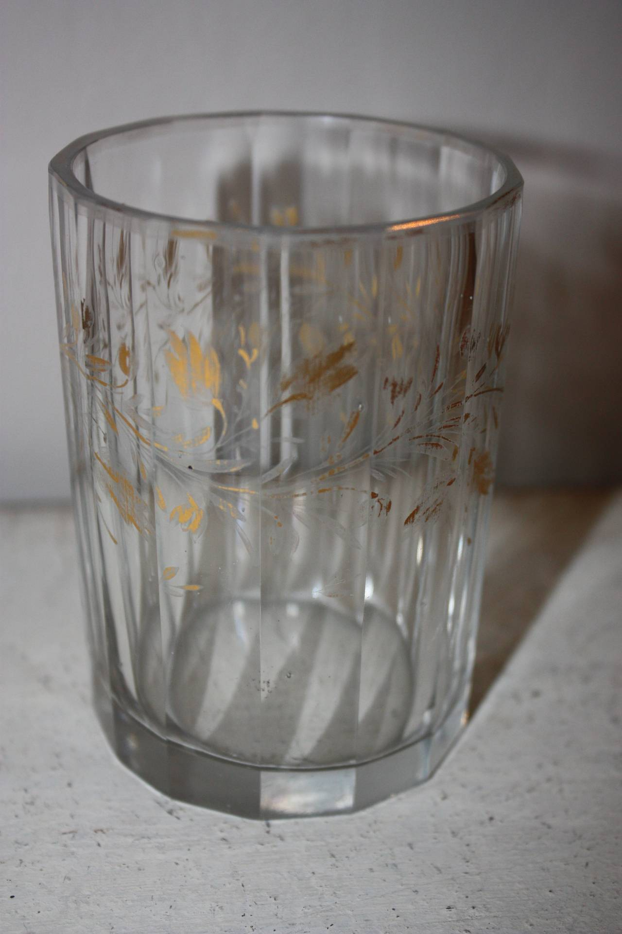 German Set of Five 19th Century Glasses with Gold Leaf Motive For Sale