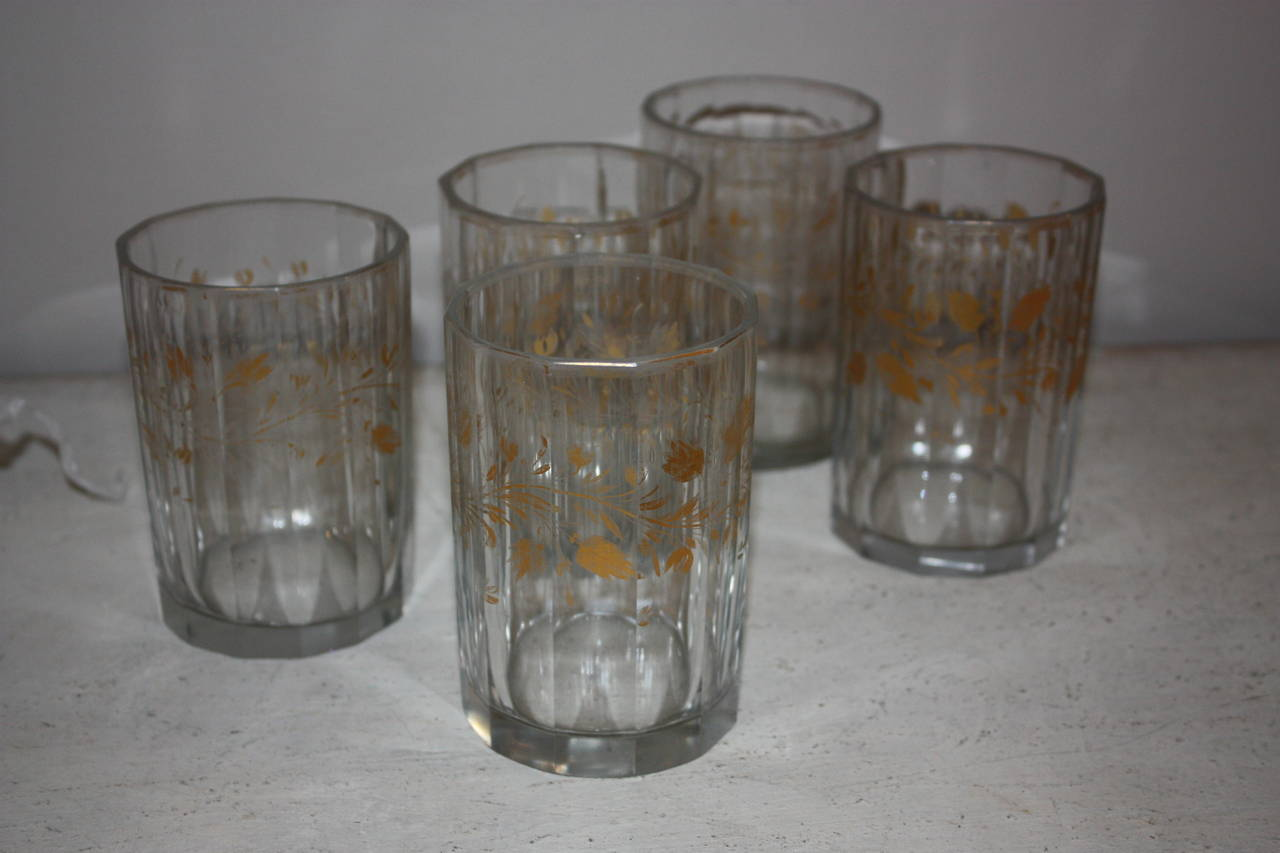 Very nice set of five German glasses with gold motives. Gilding very nicely preserved.