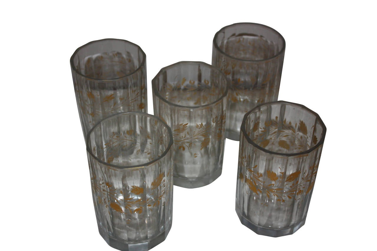 Empire Set of Five 19th Century Glasses with Gold Leaf Motive For Sale