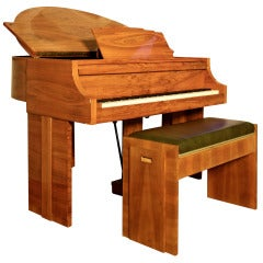 Unique Demi-Lune Grand Piano with Matching Piano Stool