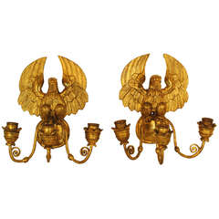 Beautiful Pair of French Empire Wall Chandeliers