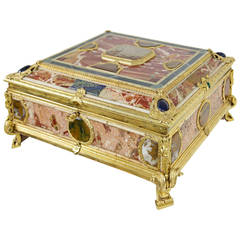 Stunning Document Casket with Marble and Semi-Precious Stones Occupied