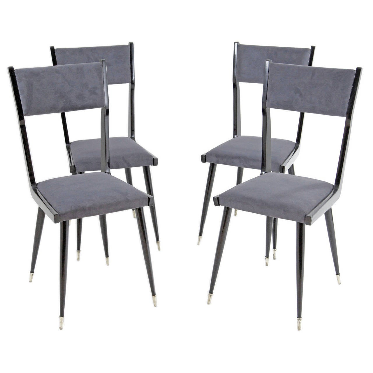 Lovely Set of Four Italian Chairs, 1970s