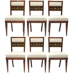 Set of Six Italian Biedermeier Chairs, circa 1820
