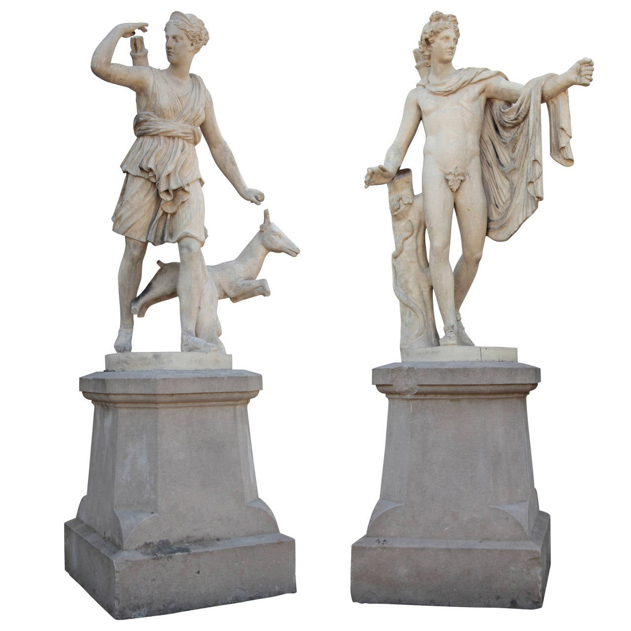 Pair of French Sculptures, Diana and Apollo, Late 19th Century 1