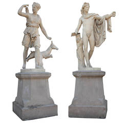 Pair of French Sculptures, Diana and Apollo, Late 19th Century