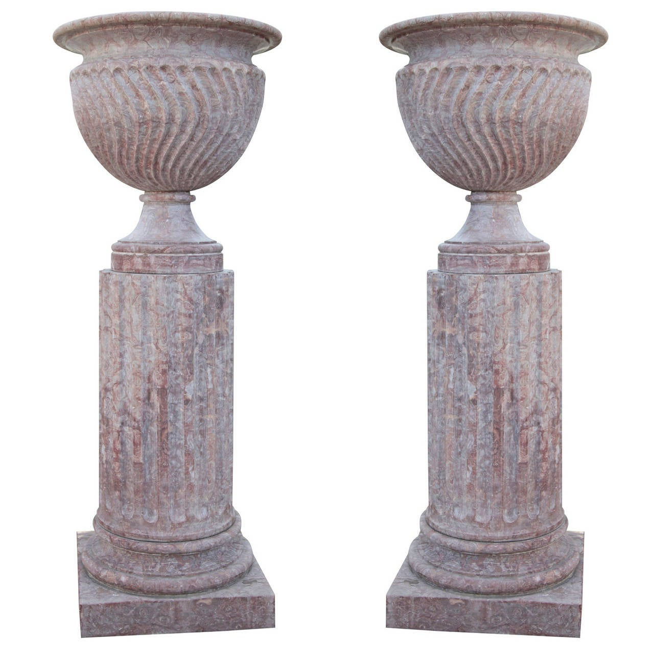 Pair of Monumental Italian Marble Vases with Pedestals from the 20th Century