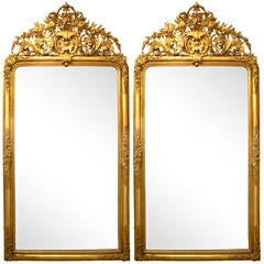 Pair of Spectacular French Mirrors, 1860s