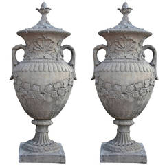 Pair of Monumental Garden Urns in Neoclassical Style, Cast Standstone