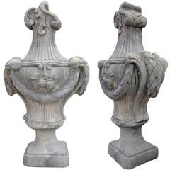 Pair Louis XVI Style Gate Crowns, Sandstone Cast
