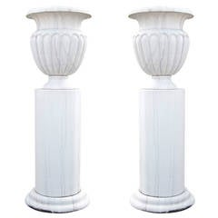 Pair of Monumental Marble Park Vases with Socket from the 20th Century