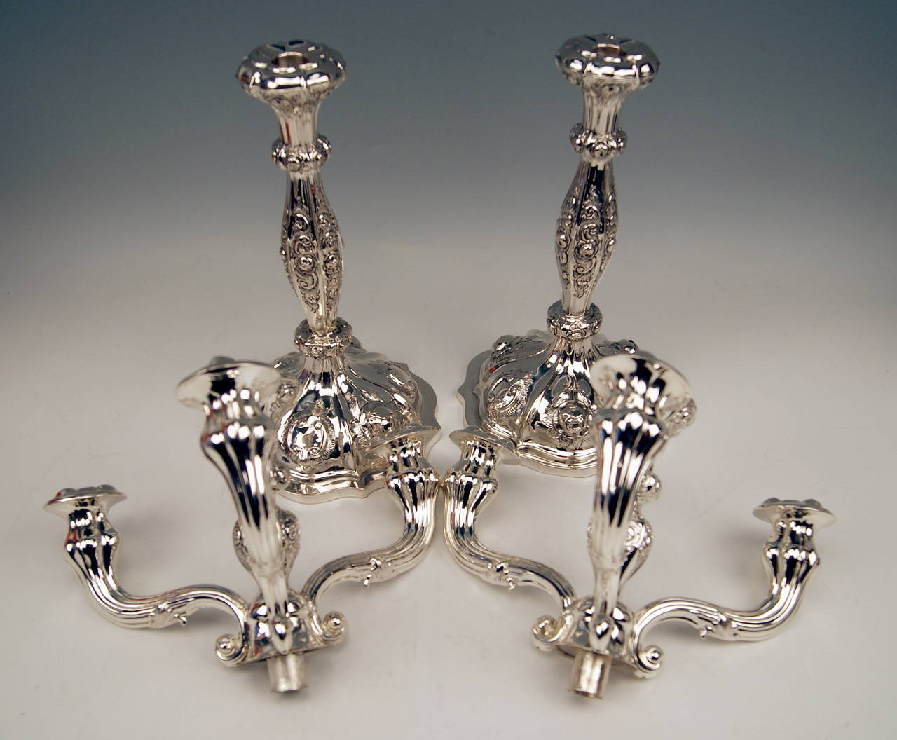 Austrian Silver Viennese Two Biedermeier Candlesticks by Albert Kattner dated 1857 For Sale