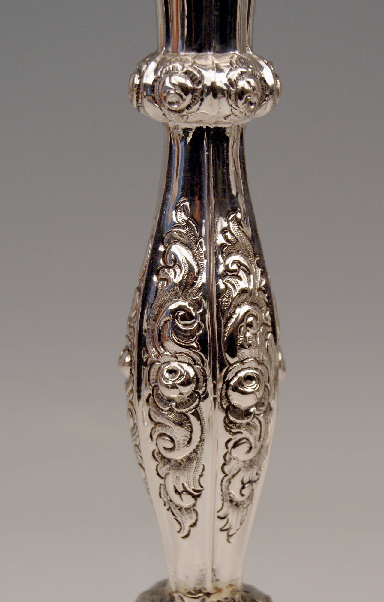 19th Century Silver Viennese Two Biedermeier Candlesticks by Albert Kattner dated 1857 For Sale