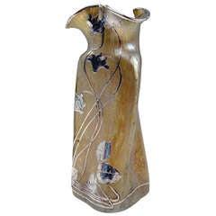 Vase Loetz Widow Klostermuhle Bohemia Art Nouveau circa 1900 Decor Candia Papillon & Silver Overlay