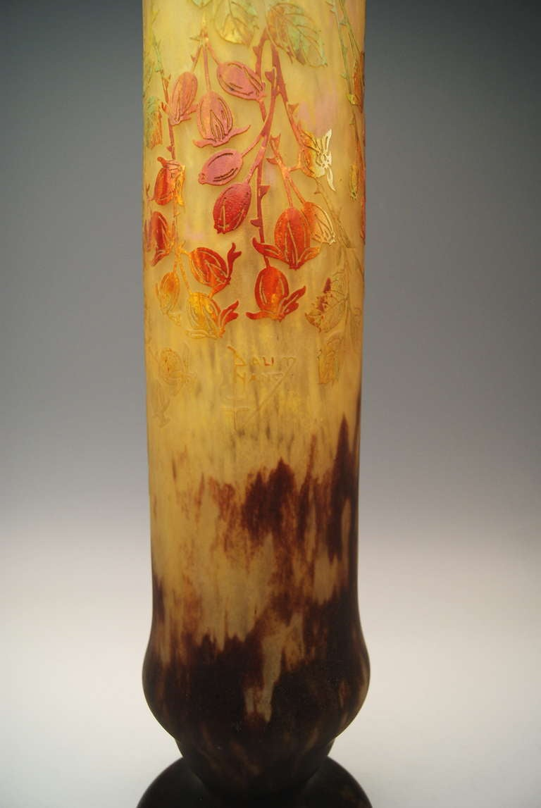 Enamel Daum Nancy Huge Vase Art Nouveau France Lorraine, circa 1906 For Sale