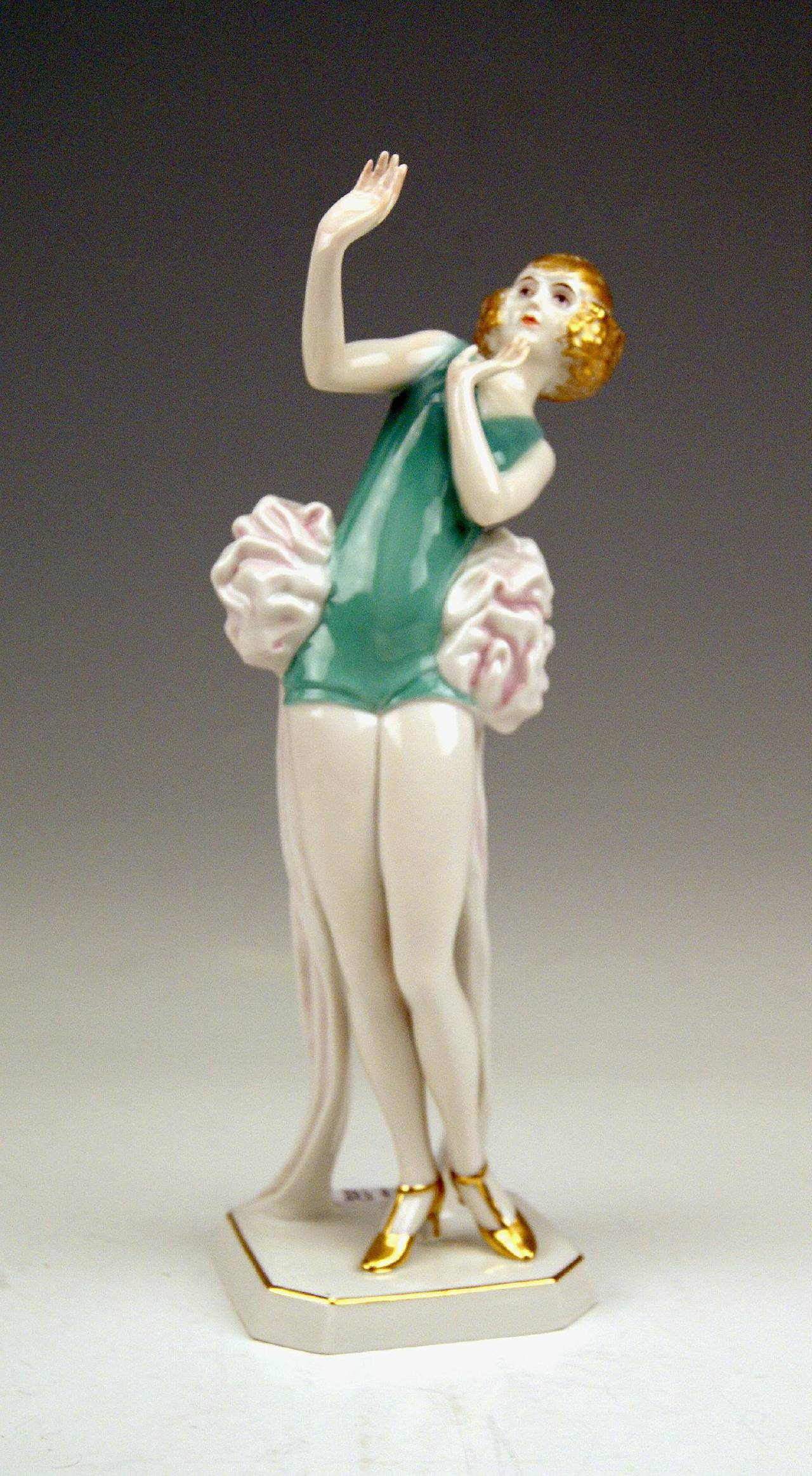 Very interesting, quite rare Rosenthal Germany female figurine called  'JANINE'   or   'THE FRIGHTENED WOMAN'    modelled by Dorothea Charol  model created in year 1926  manufactured first quarter of  20th century   /   made circa 1929   A