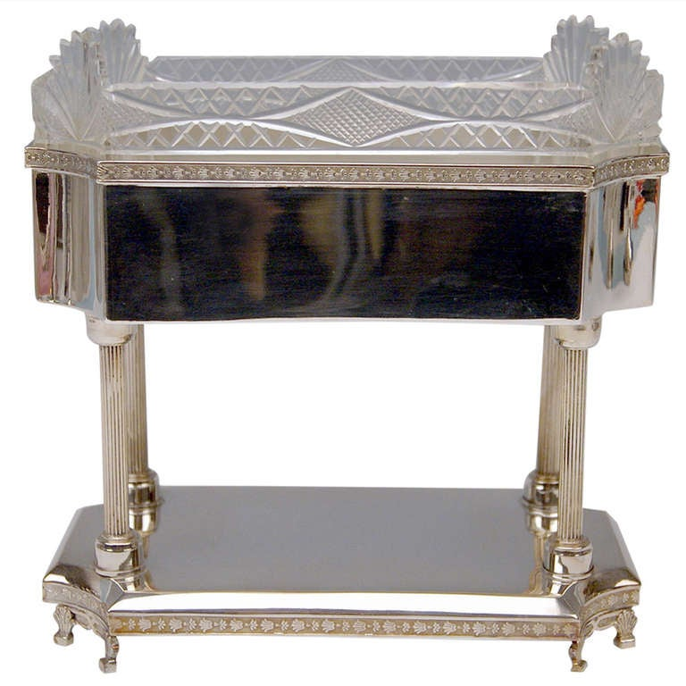 Silver Art Nouveau Centrepiece Original Glass Liner Vienna Austria circa 1900 For Sale