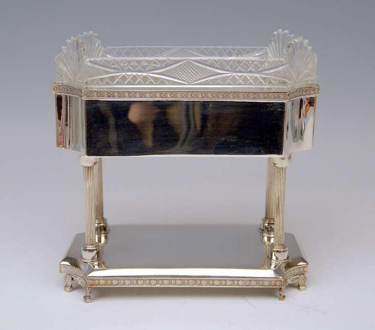 Silver Art Nouveau Centrepiece Original Glass Liner Vienna Austria circa 1900 2