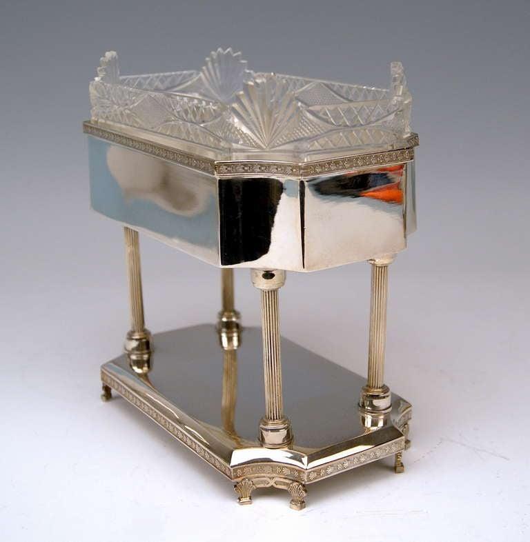 Austrian Silver Art Nouveau Centrepiece Original Glass Liner Vienna Austria circa 1900 For Sale
