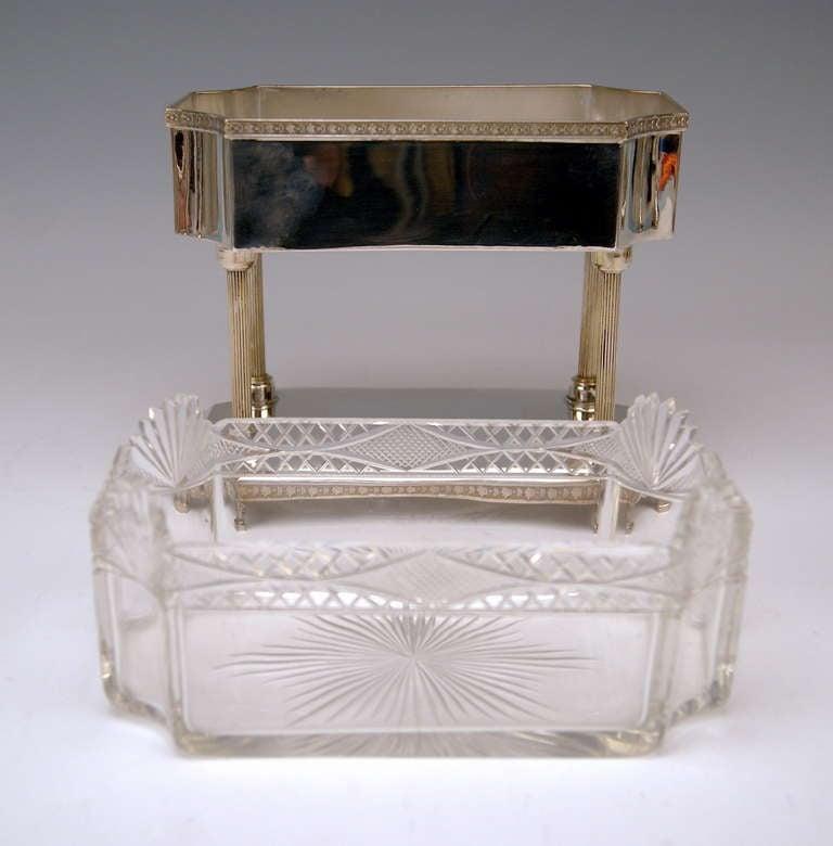 20th Century Silver Art Nouveau Centrepiece Original Glass Liner Vienna Austria circa 1900 For Sale