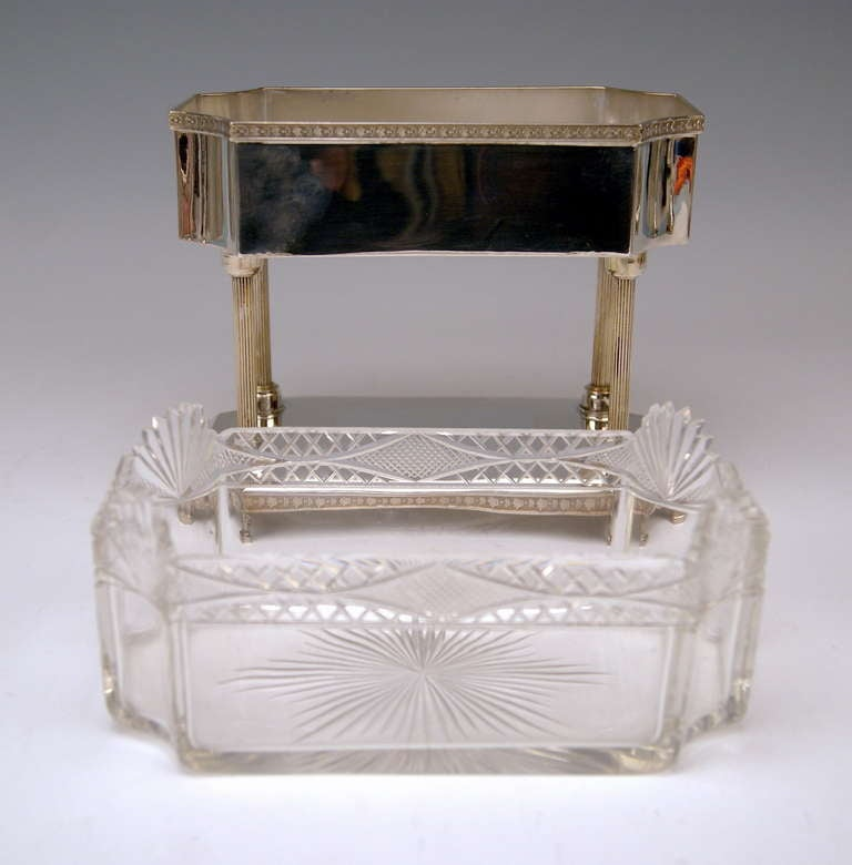 Silver Art Nouveau Centrepiece Original Glass Liner Vienna Austria circa 1900 For Sale 1