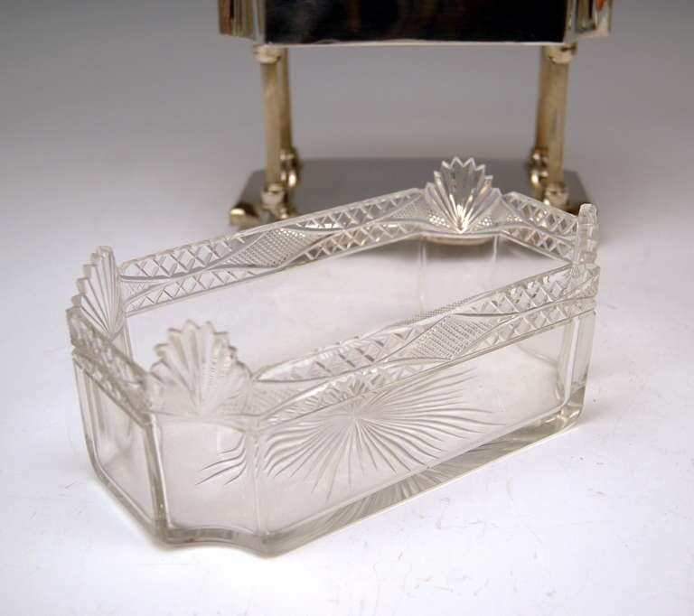 Silver Art Nouveau Centrepiece Original Glass Liner Vienna Austria circa 1900 For Sale 2